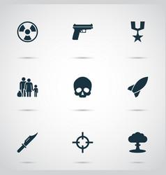 Combat icons set collection of dangerous cranium vector