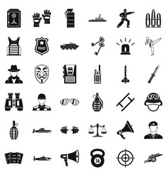 Cop icons set simple style vector