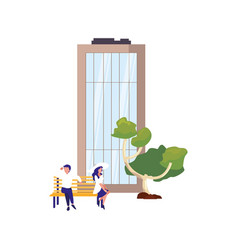 couple sitting on bench city building tree vector image