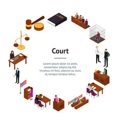 Court session concept banner card circle 3d vector