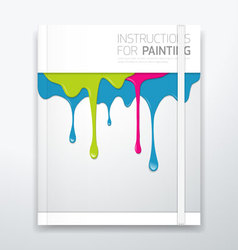Cover paint colorful dripping vector image