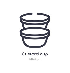 Custard cup outline icon isolated line from vector
