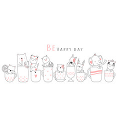 Cute baby animal with cup cartoon hand drawn vector