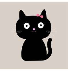 Cute cartoon black cat with big eyes vector image