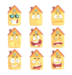 Cute cartoon humanized house with with many vector