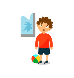 cute little bully boy crashed the window with ball vector image