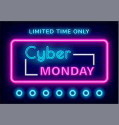 Cyber monday limited time only neon sign vector