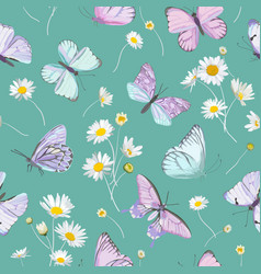daisy flowers and butterfly background vector image