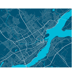 Detailed map quebec city linear print map vector