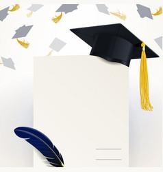 diploma graduation and graduate cap vector image