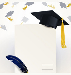 diploma of graduation and graduate cap vector image