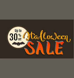 discount 30 percent of halloween holiday sale bat vector image vector image
