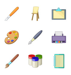 Drawing and writing tools icons set cartoon style vector