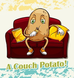 English idiom couch potato vector image