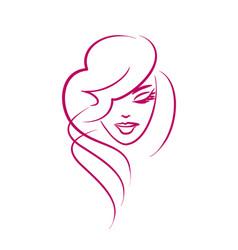 Face a beautiful girl - logo beauty vector