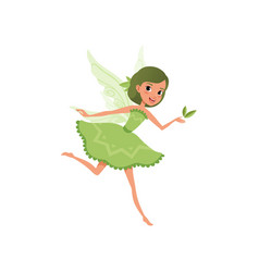 Fantasy forest fairy with green hair in little vector