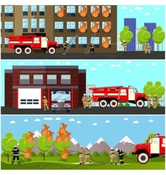 Fire fighting department horizontal banners vector