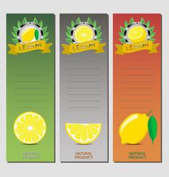 for ripe fruit yellow lemon vector image