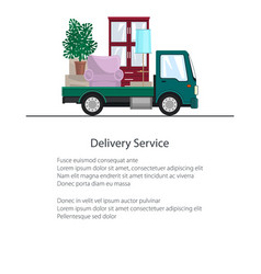 Freight car is transporting furniture brochure vector