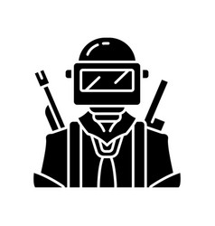 Game soldier glyph icon player with weapon vector