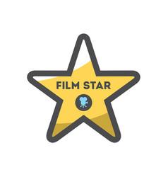 gold film star street sign icon cartoon vector image