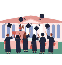 Graduates throw graduation hats in sky vector