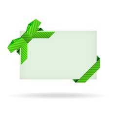 green gift card with dashed ribbon and dashed bow vector image