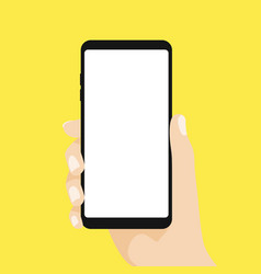 hand holding smart phone on yellow background vector image