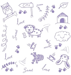 Happy animal doodle art vector image