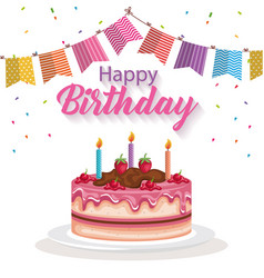 happy birthday card with cake and garlands vector image