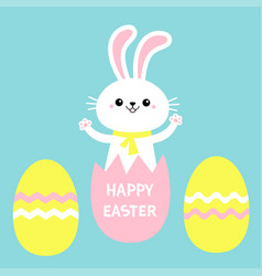 Happy easter painted eggs rabbit bunny holding vector