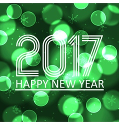 Happy new year 2017 on green bokeh circle vector
