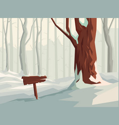 Horizontal cartoon snowy forest with wooden vector