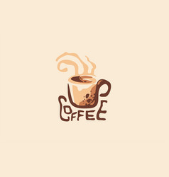 Hot drink cup coffee shop logo with steaming mug vector