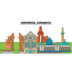 Indonesia surabaya city skyline architecture vector