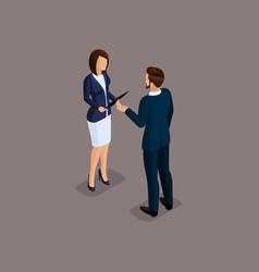 isometric 3d big business partnership negotiations vector image