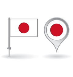 Japanese pin icon and map pointer flag vector