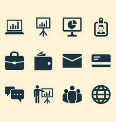 Job icons set collection of suitcase statistics vector