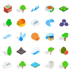 landscaping icons set isometric style vector image