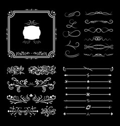 large set victorian calligraphic swirls dividers vector image
