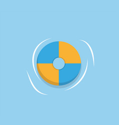 lifesaver ring isolated blue yellow rubber circle vector image