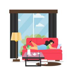 Living room interior flat style design vector