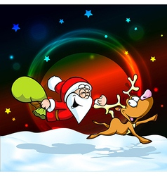 Magic christmas eve - funny of santa with re vector