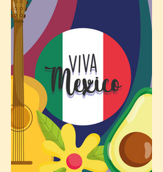 mexican independence day flag guitar avocado vector image