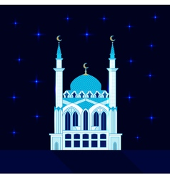 Mosque at night flat vector