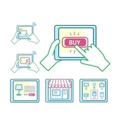 Online shopping concept set vector image