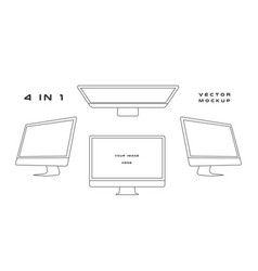 outline computer monitor isolated on vector image