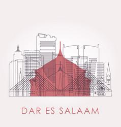 outline dar es salaam skyline with landmarks vector image