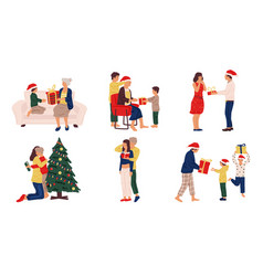 people with christmas presents family and friends vector image