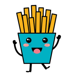 Potatoes fries kawaii character vector